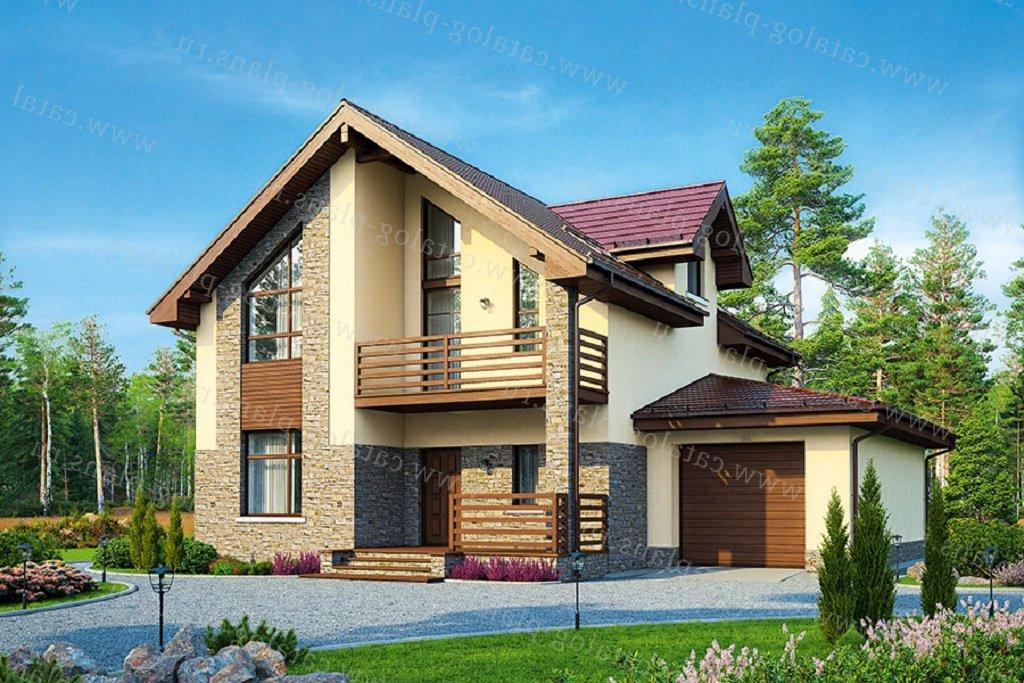 Проект жилой дом #57-00E материал - газобетон, стиль современный