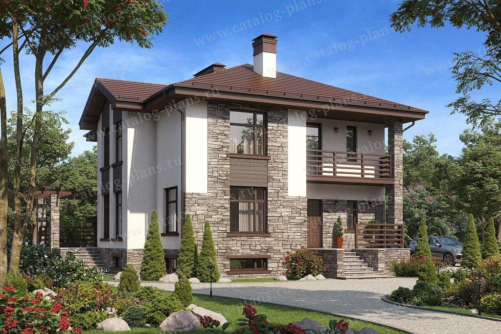 Проект жилой дом #58-49A материал - газобетон, стиль