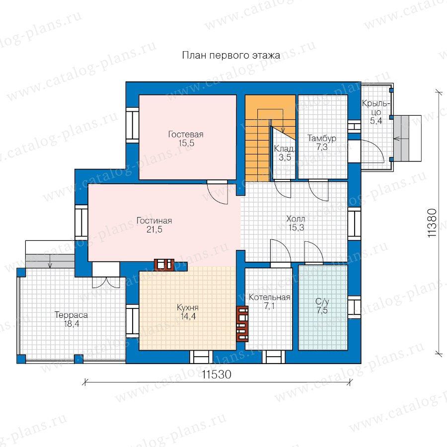 План 1-этажа проекта 58-34KBL