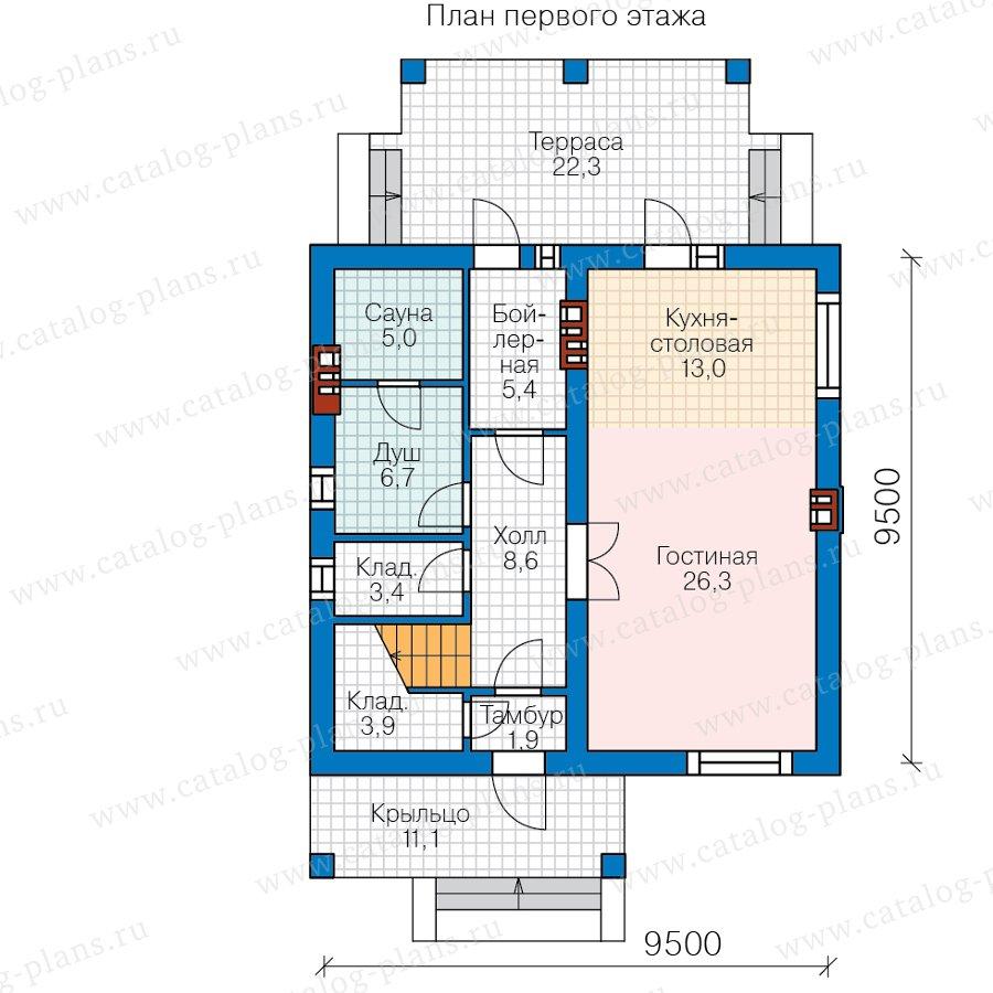 План 1-этажа проекта 57-91B