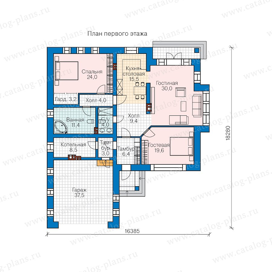 План 1-этажа проекта 45-07L