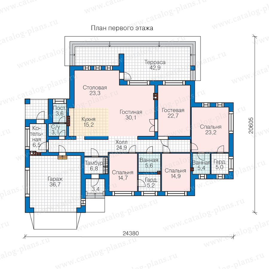 План 1-этажа проекта 45-08