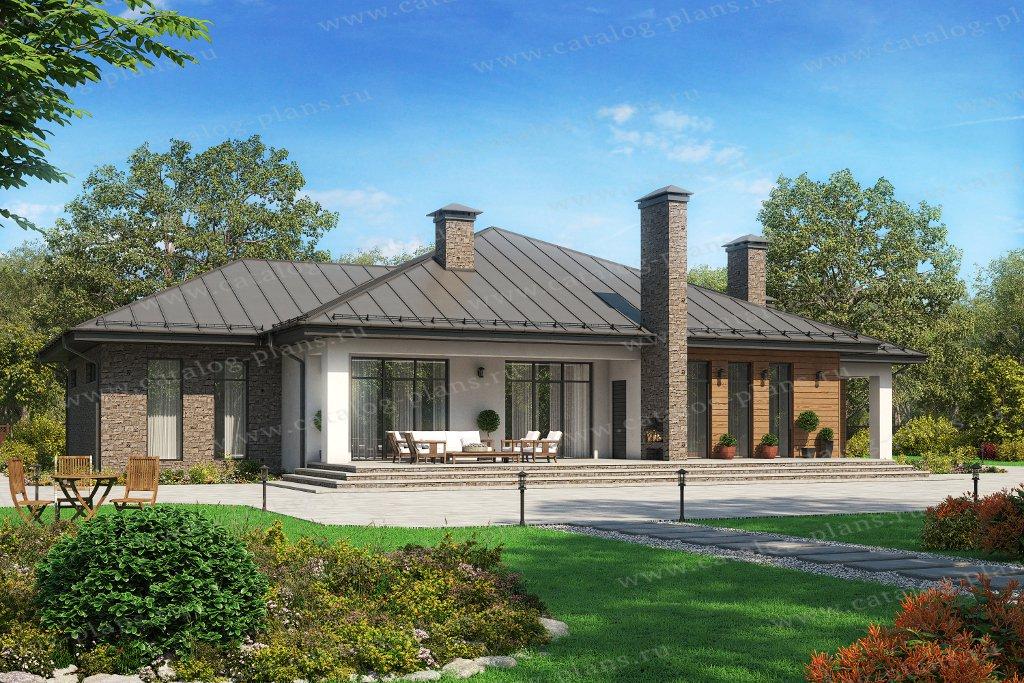 45-08 - Проект одноэтажного кирпичного дома с террасой