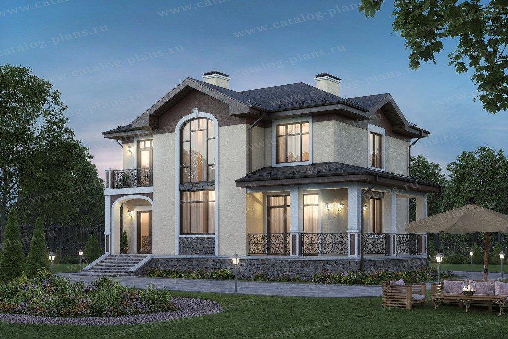 Проект жилой дом #45-09 материал - кирпич, стиль