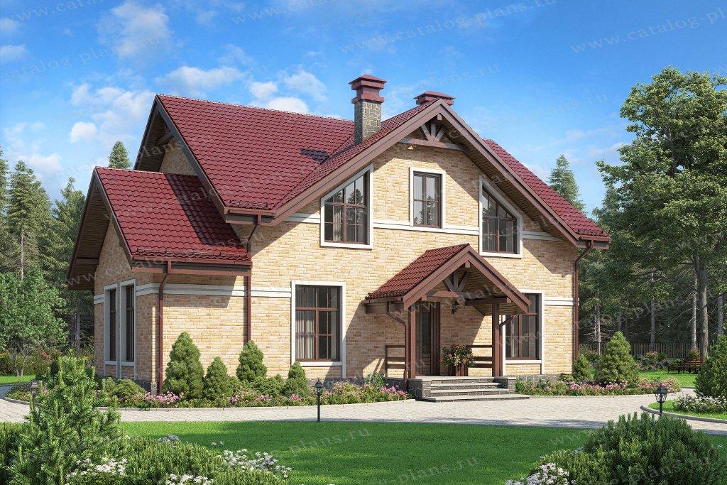 Проект жилой дом #58-22KDL1 материал - кирпич, стиль