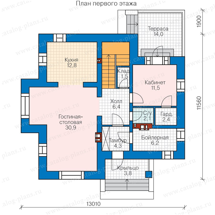 План 1-этажа проекта 45-17