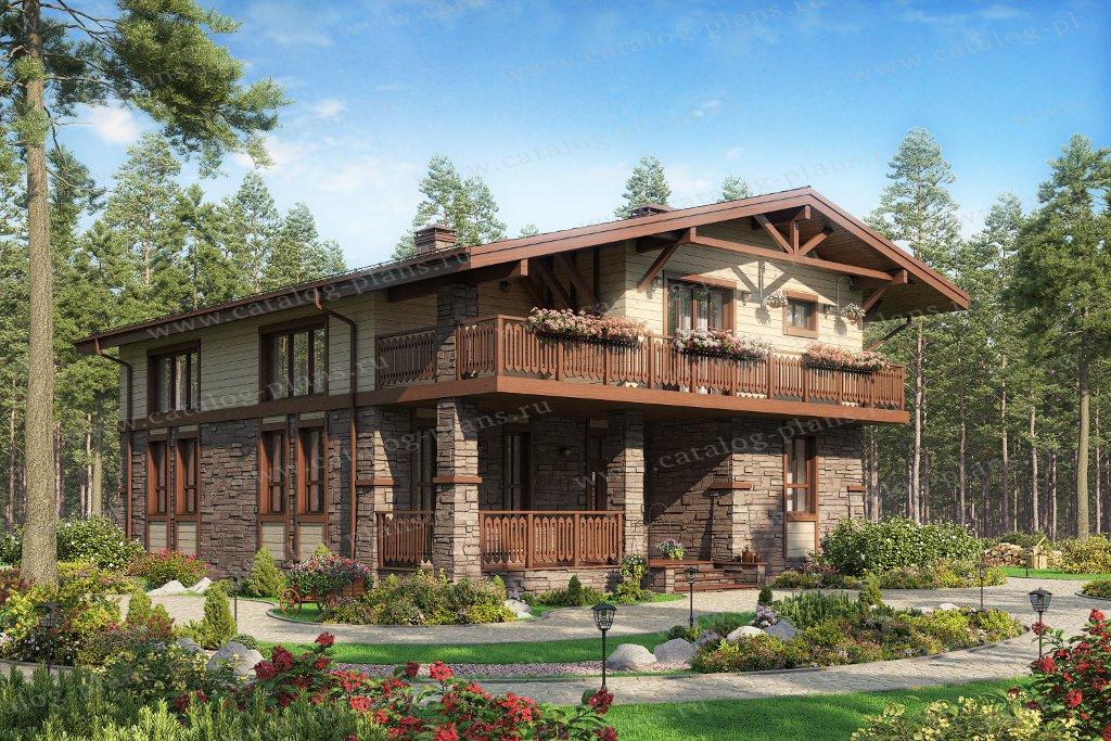 Проект жилой дом #62-23 материал - газобетон, стиль шале