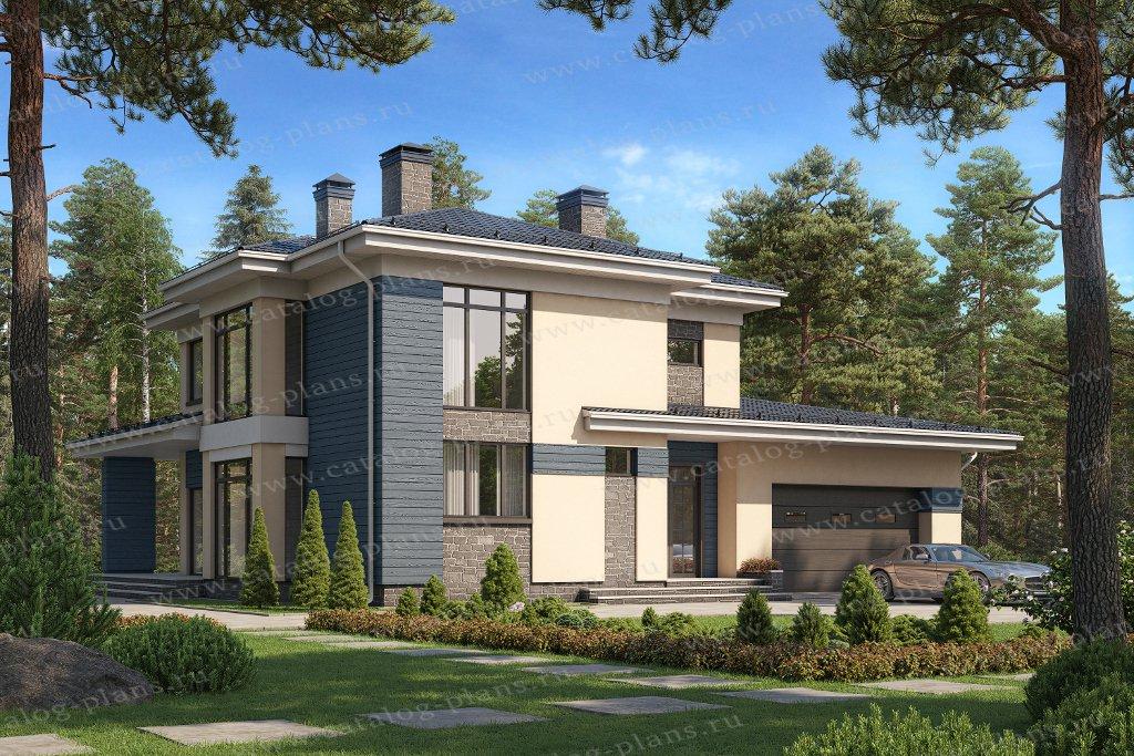 Проект жилой дом #45-16 материал - кирпич, стиль в стиле Райта