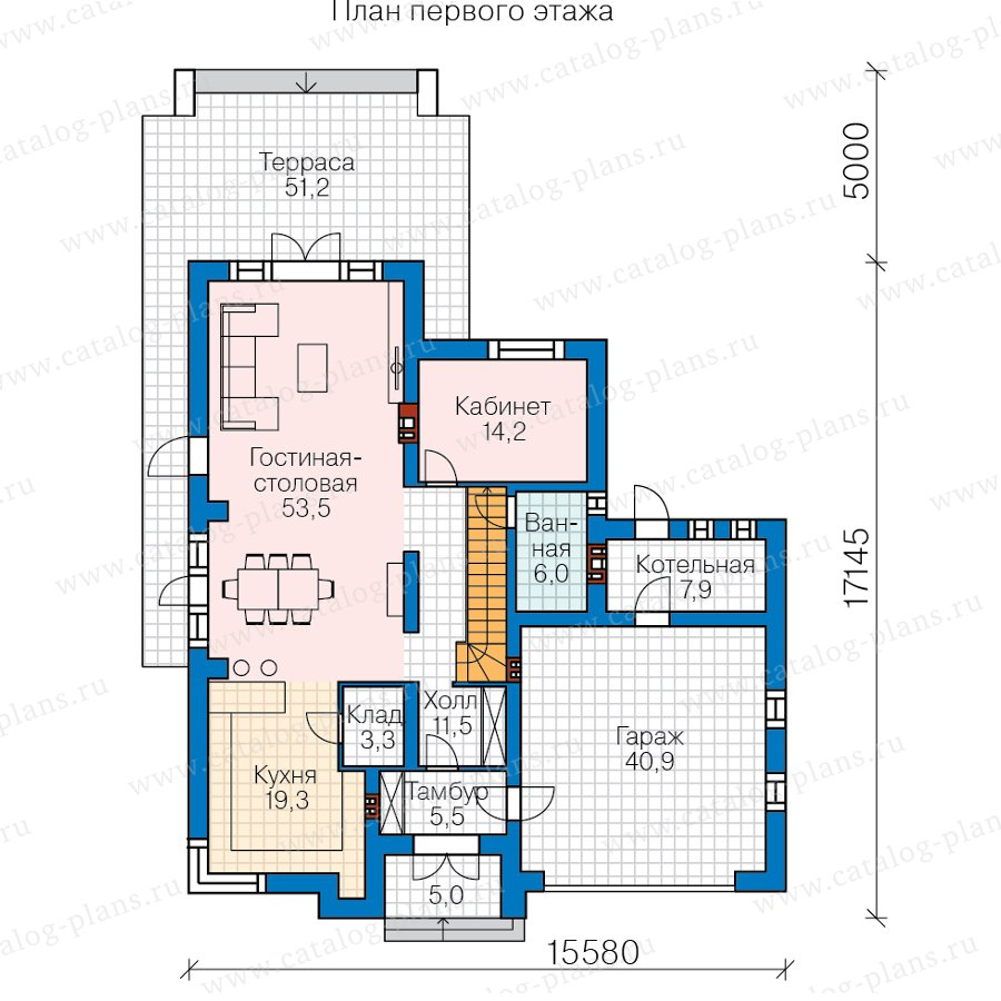 План 1-этажа проекта 45-15