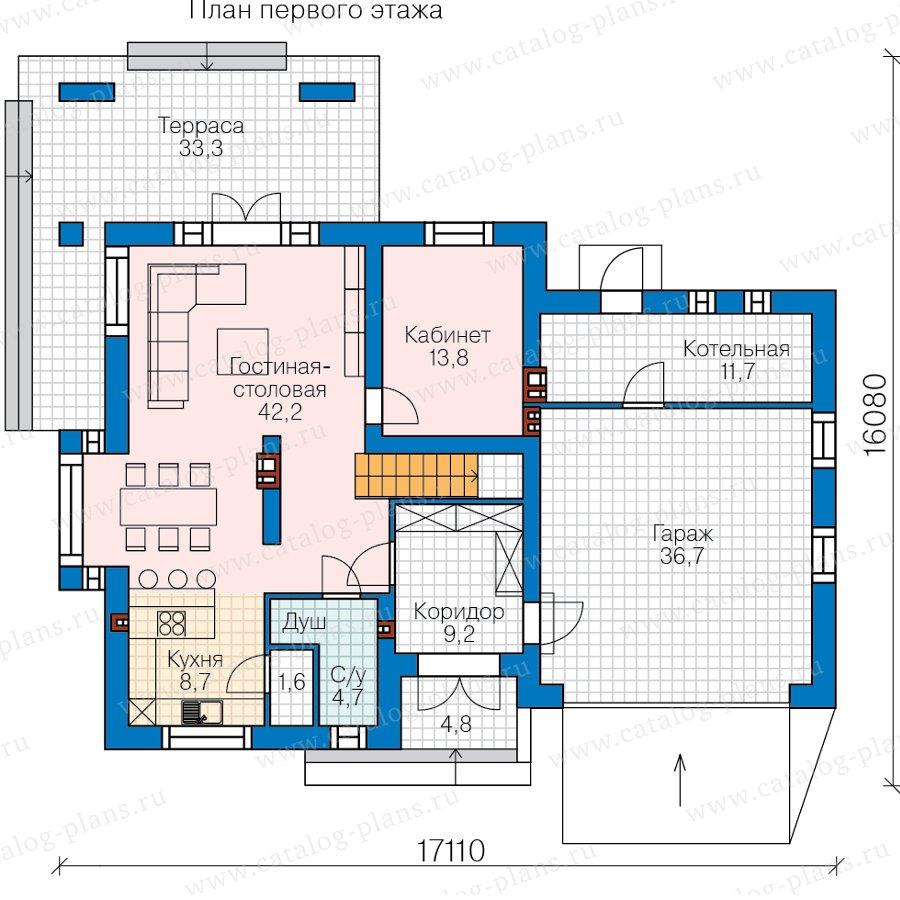 План 1-этажа проекта 45-16