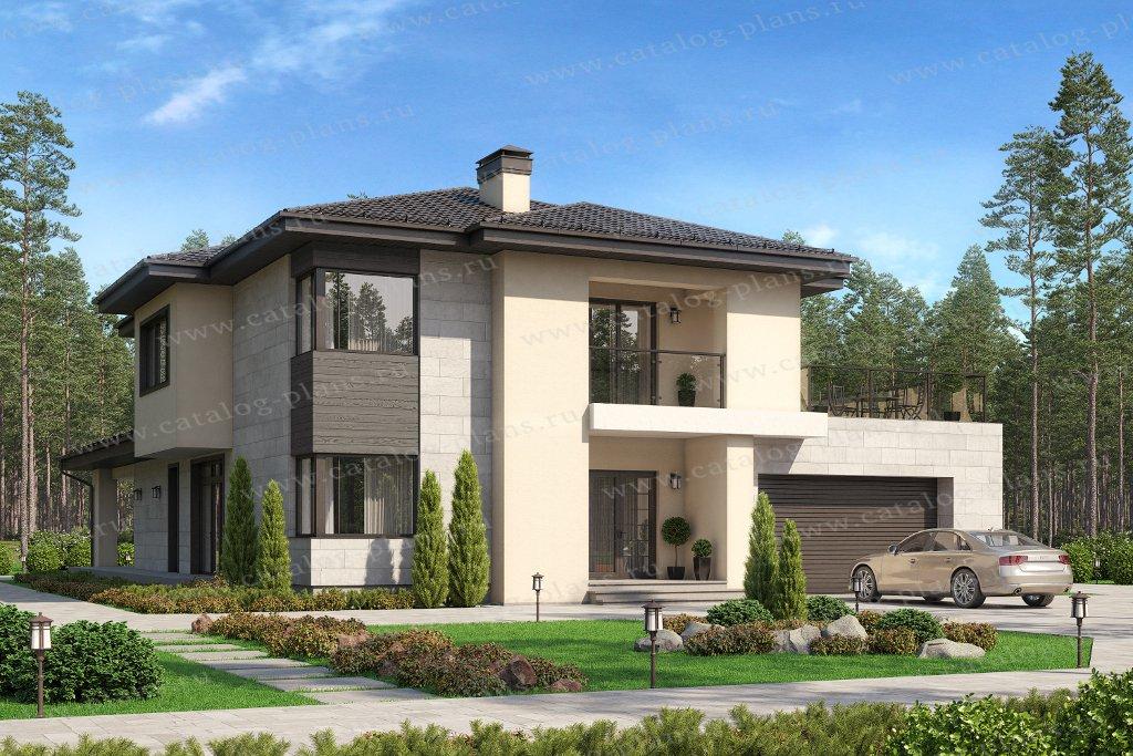 Проект жилой дом #45-15 материал - кирпич, стиль в стиле Райта