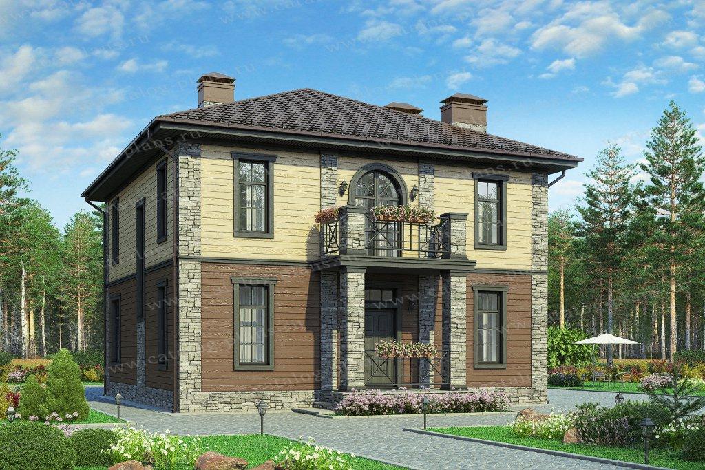 Проект жилой дом #57-05Кедрал материал - газобетон, стиль европейский