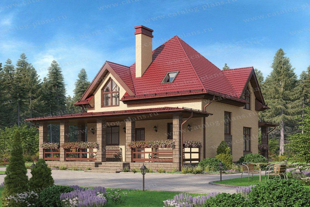 Проект жилой дом #57-51A материал - газобетон, стиль европейский
