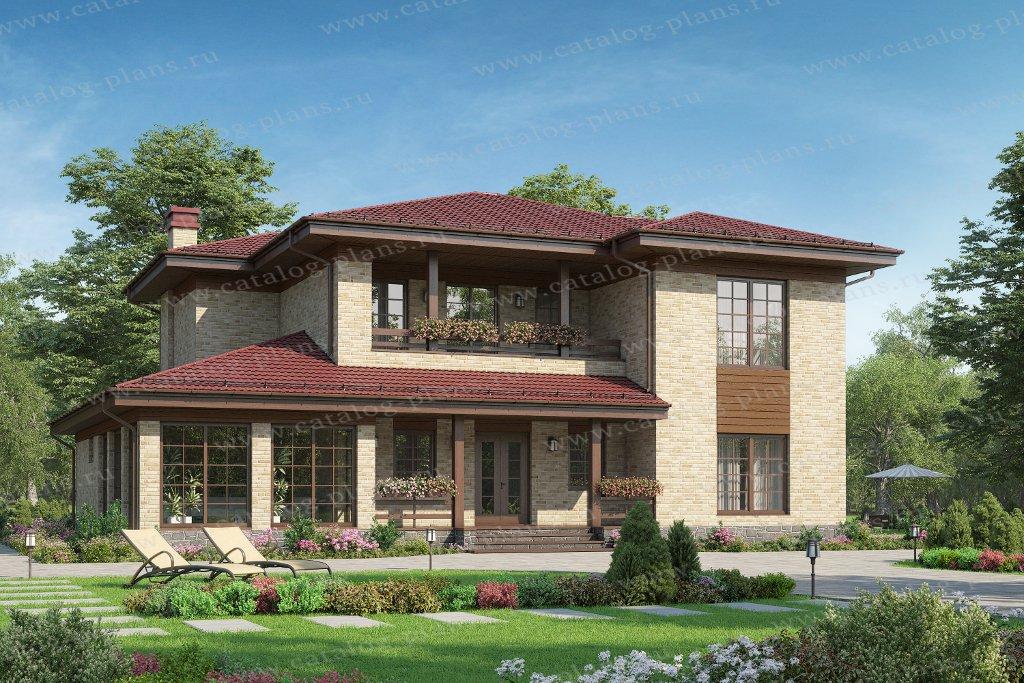 Проект жилой дом #58-10H2L материал - газобетон (есть вариант ленточного ж/б фундамента с погребом под котельной 3м- 5000 т.р.), стиль в стиле Райта