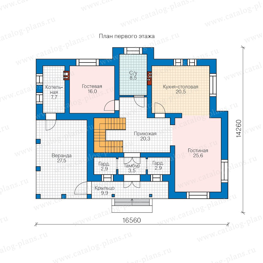 План 1-этажа проекта 58-10H2L