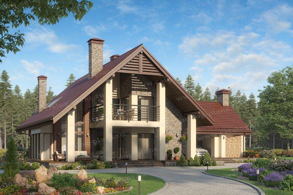 Проект жилой дом #45-21 материал - кирпич, стиль