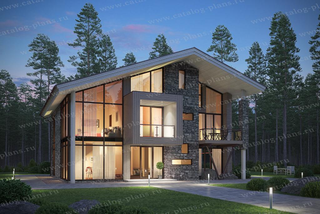 Проект жилой дом #62-33 материал - газобетон, стиль