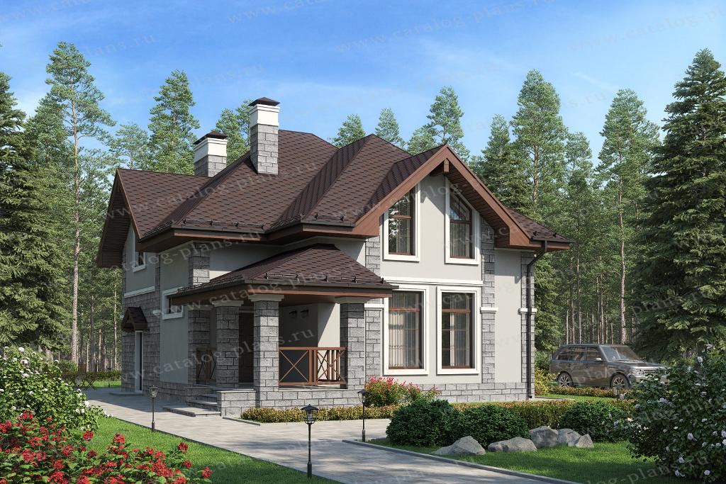 Проект жилой дом #57-16 материал - газобетон, стиль европейский
