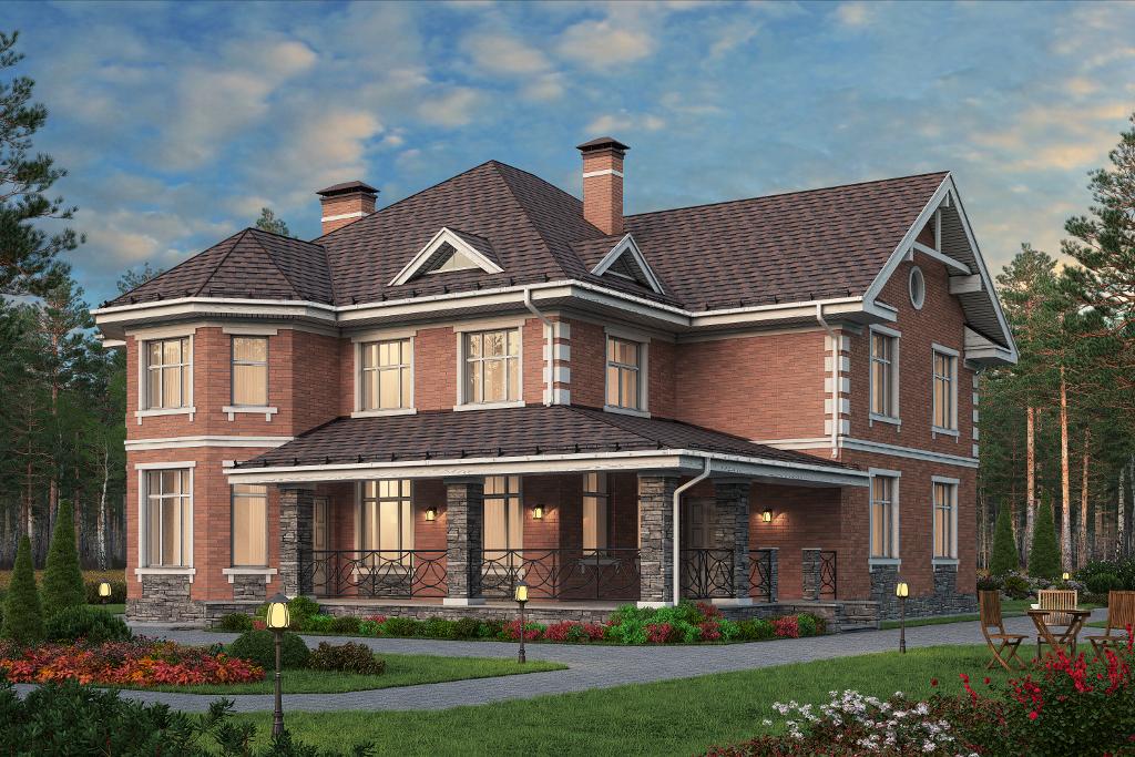 Проект жилой дом #57-74 материал - газобетон, стиль европейский