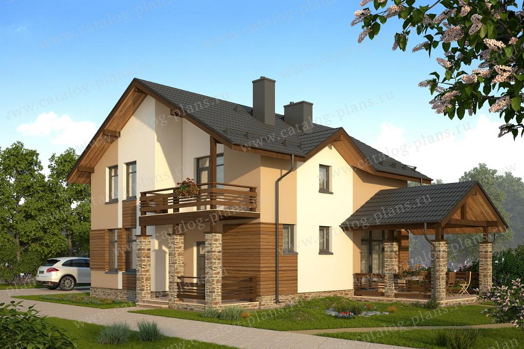 Проект жилой дом #59-35D материал - газобетон, стиль