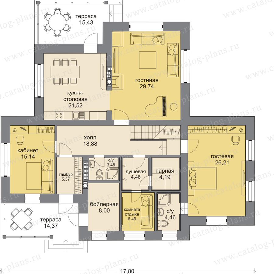 План 1-этажа проекта 47-92L