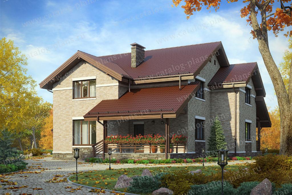 Проект жилой дом #47-92L материал - кирпич, стиль