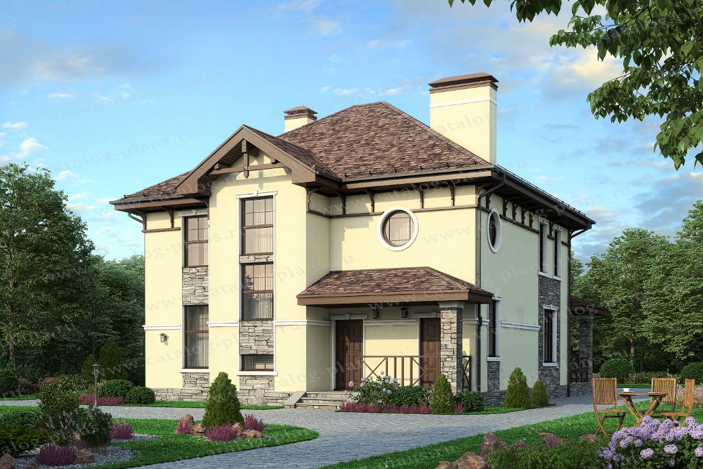 Проект жилой дом #57-20 материал - газобетон, стиль европейский