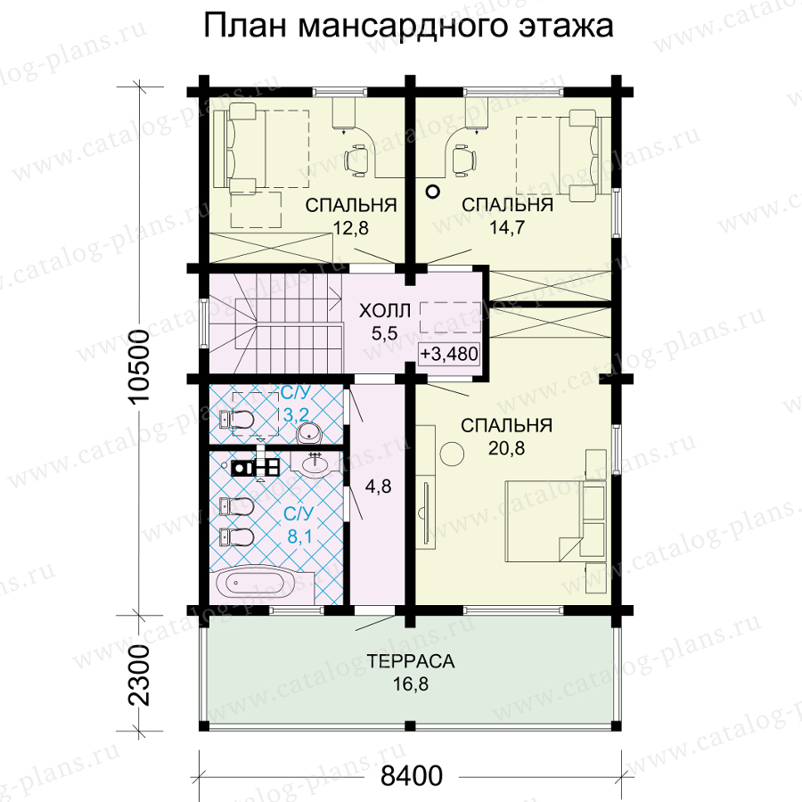 План 2-этажа проекта 13-34A