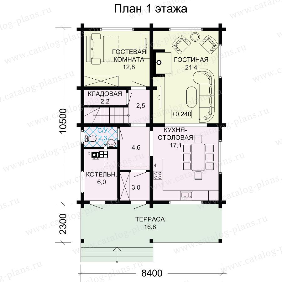 План 1-этажа проекта 13-34A