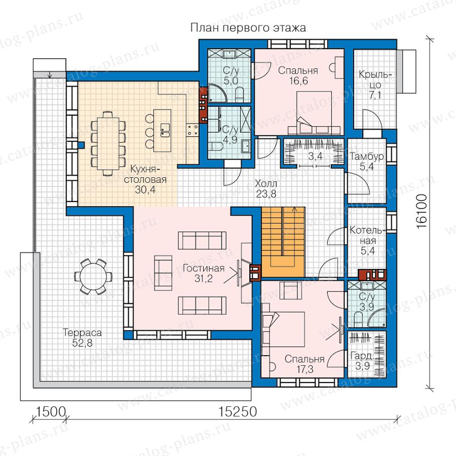 План 1-этажа проекта 62-50