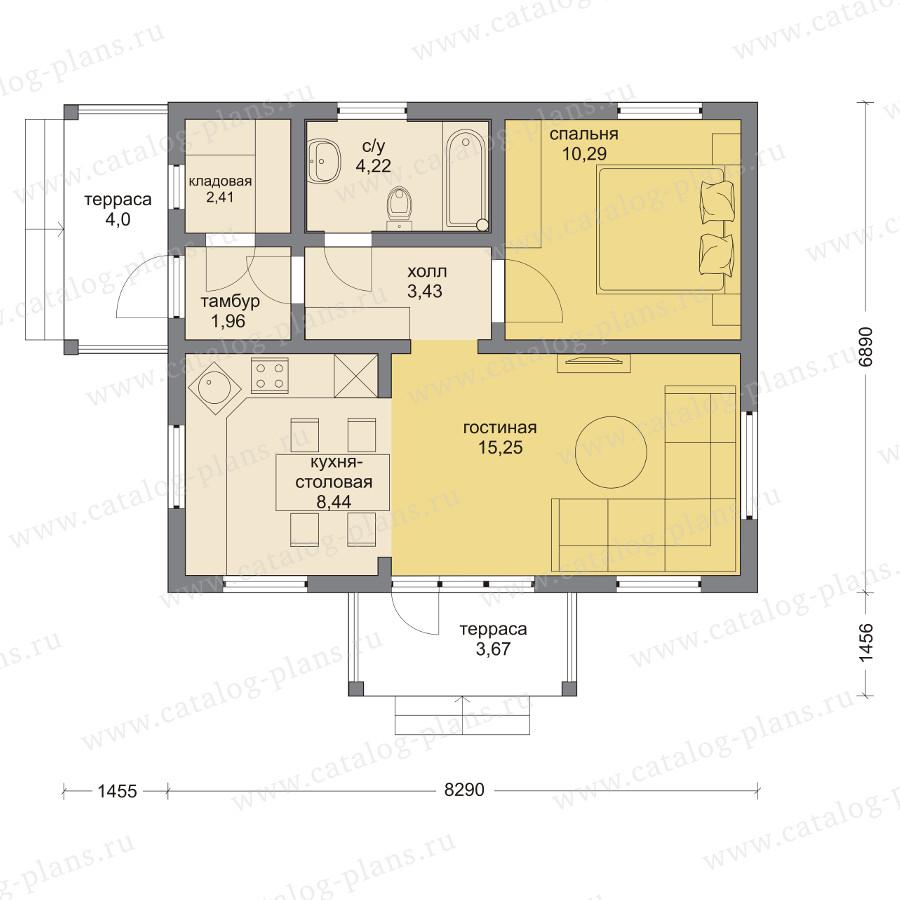 План 1-этажа проекта 70-61