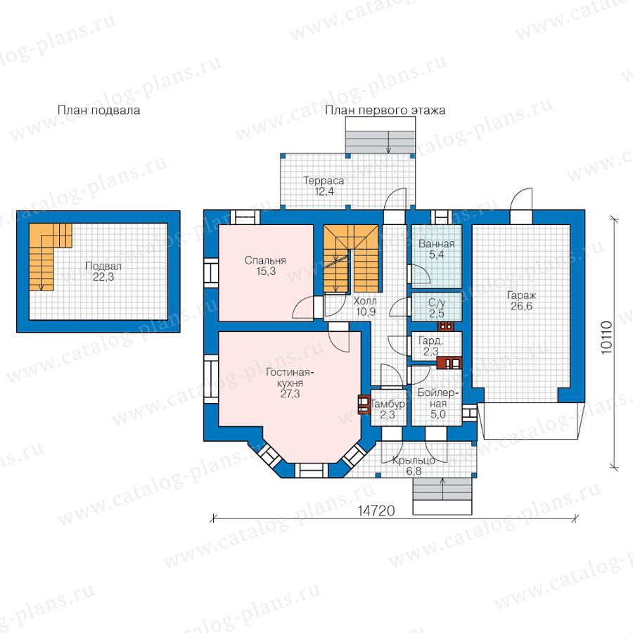 План 1-этажа проекта 40-05HGL