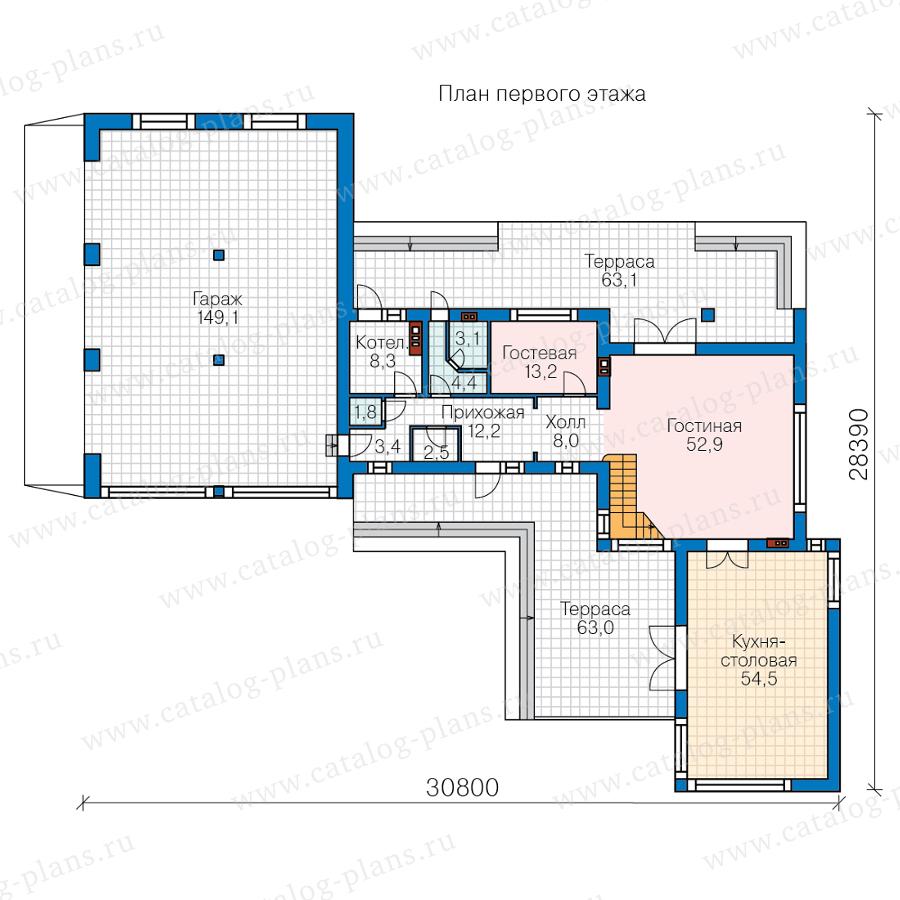План 1-этажа проекта 40-84BL