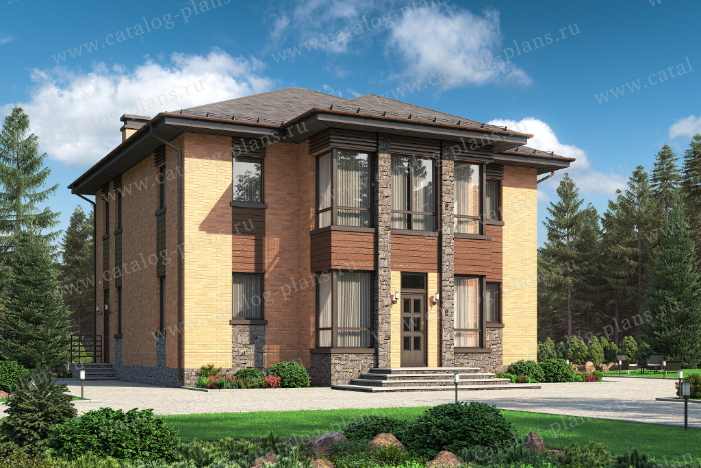 Проект жилой дом #58-87FKL материал - кирпич, стиль