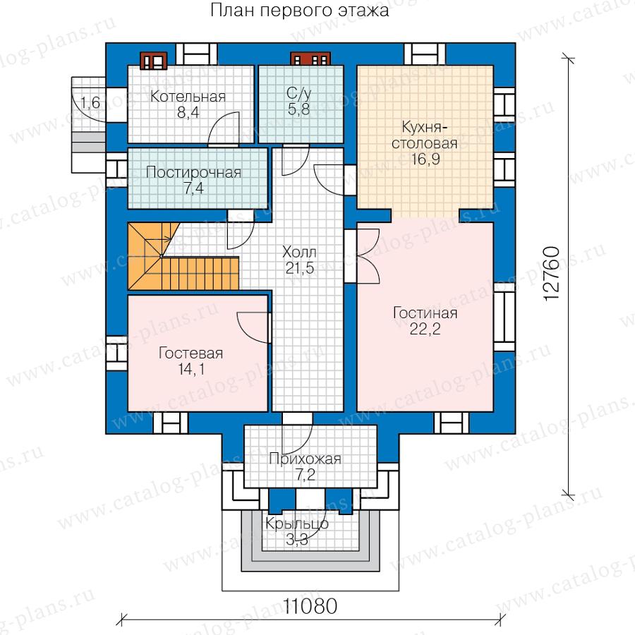 План 1-этажа проекта 58-87FKL