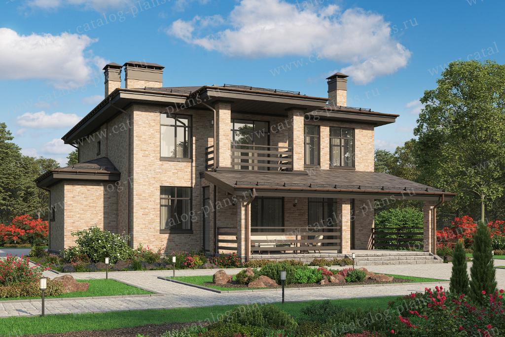 Проект жилой дом #45-54L материал - кирпич, стиль