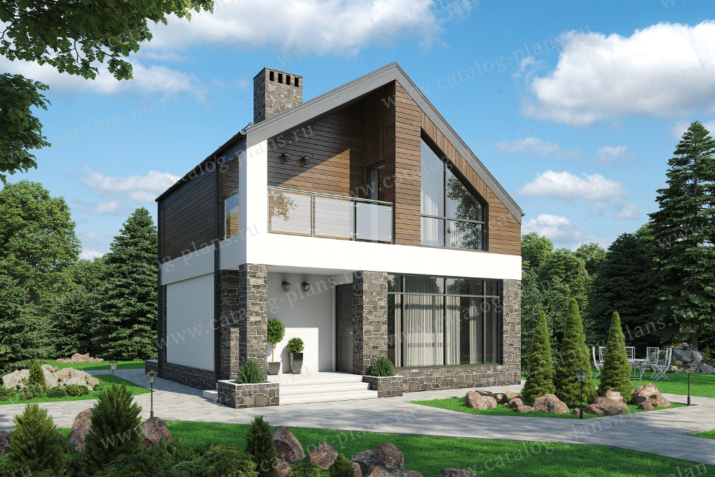 62-67 - Проект двухэтажного дома из газобетона с верандой
