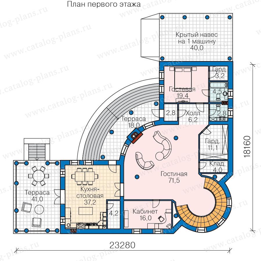 План 1-этажа проекта 45-34