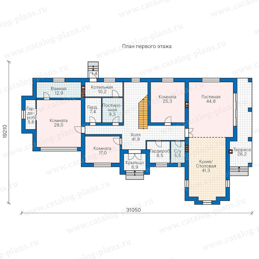 План 1-этажа проекта 45-19A