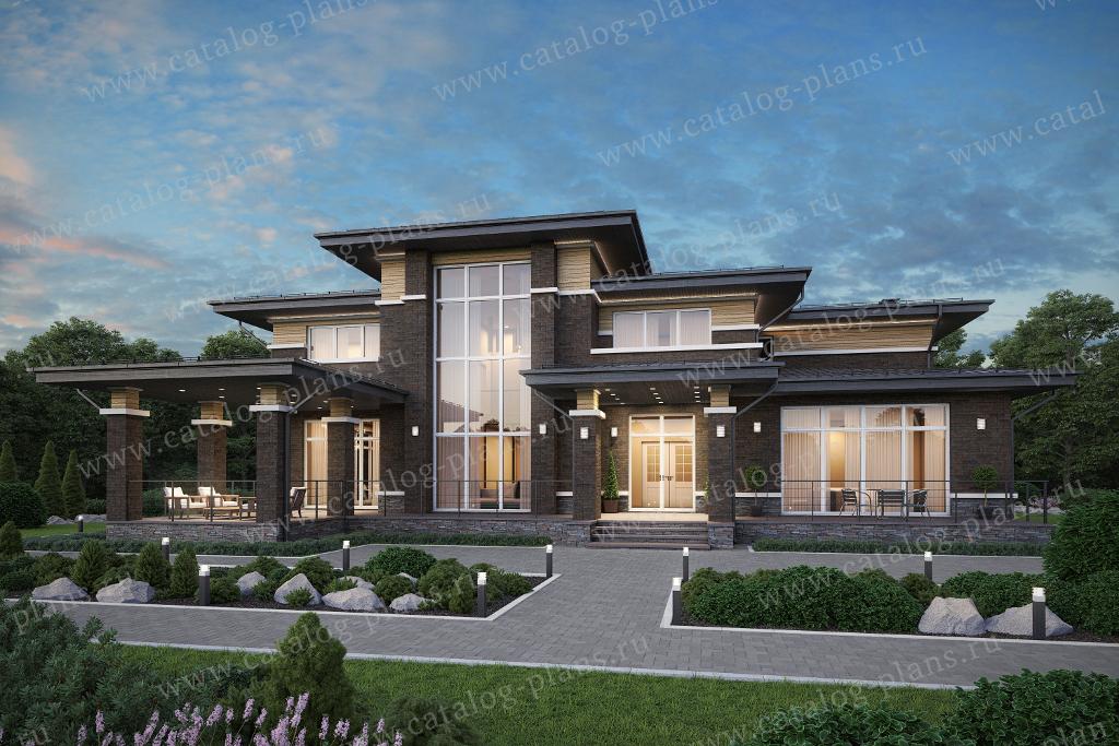 Проект жилой дом #45-64K1L материал - кирпич, стиль Райт