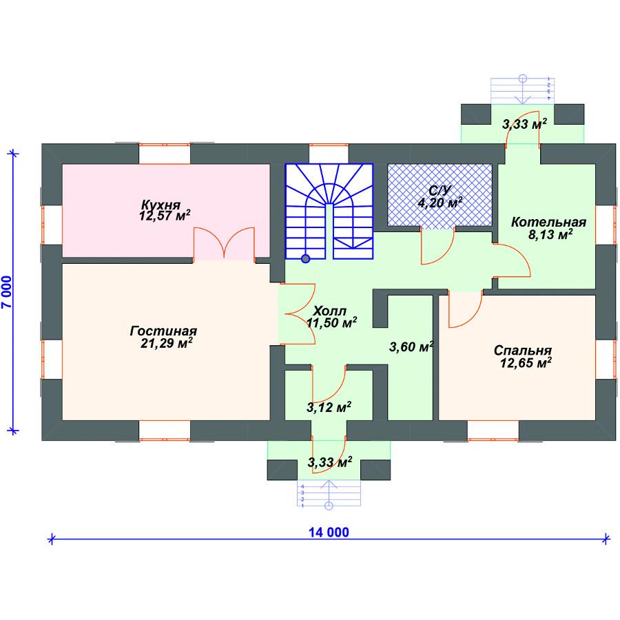 План 1-этажа проекта 28-08