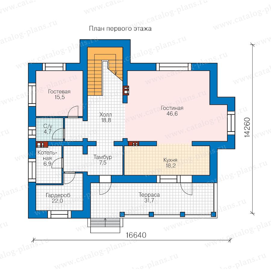 1этаж. План проекта №40-43AL