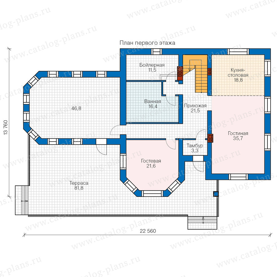 1этаж. План проекта №48-32