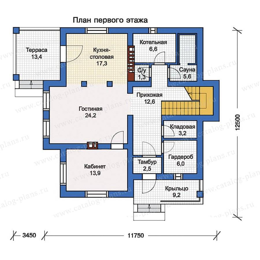 1этаж. План проекта №57-00KB