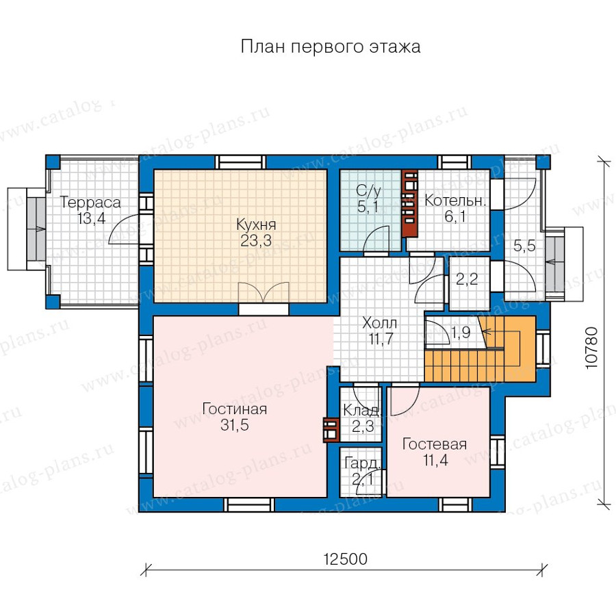 1этаж. План проекта №57-20B