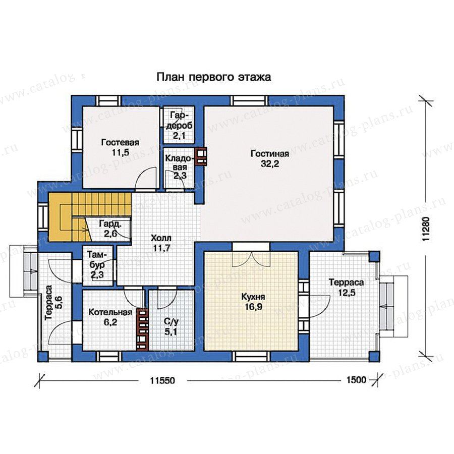 1этаж. План проекта №57-20K
