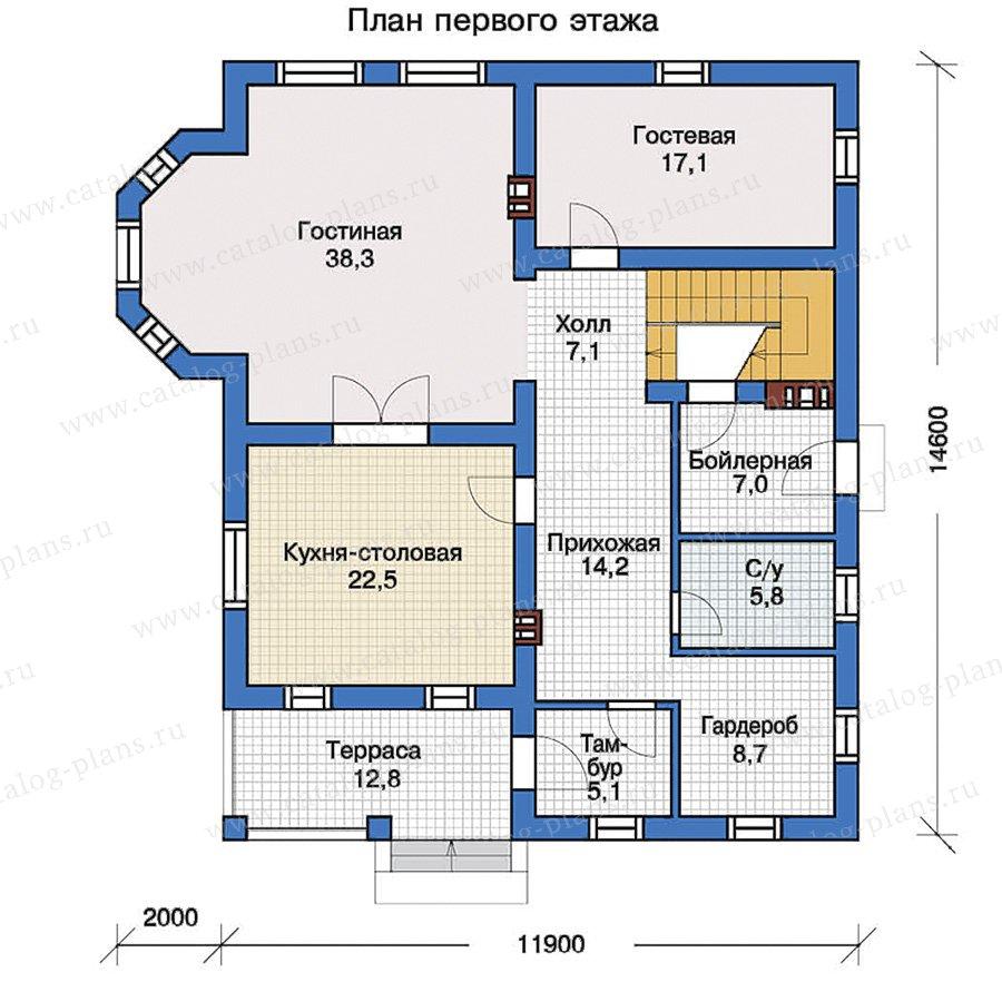 1этаж. План проекта №57-33
