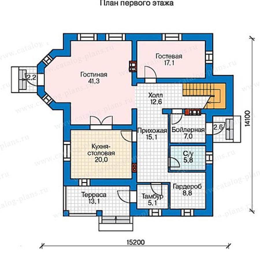 1этаж. План проекта №57-33AK