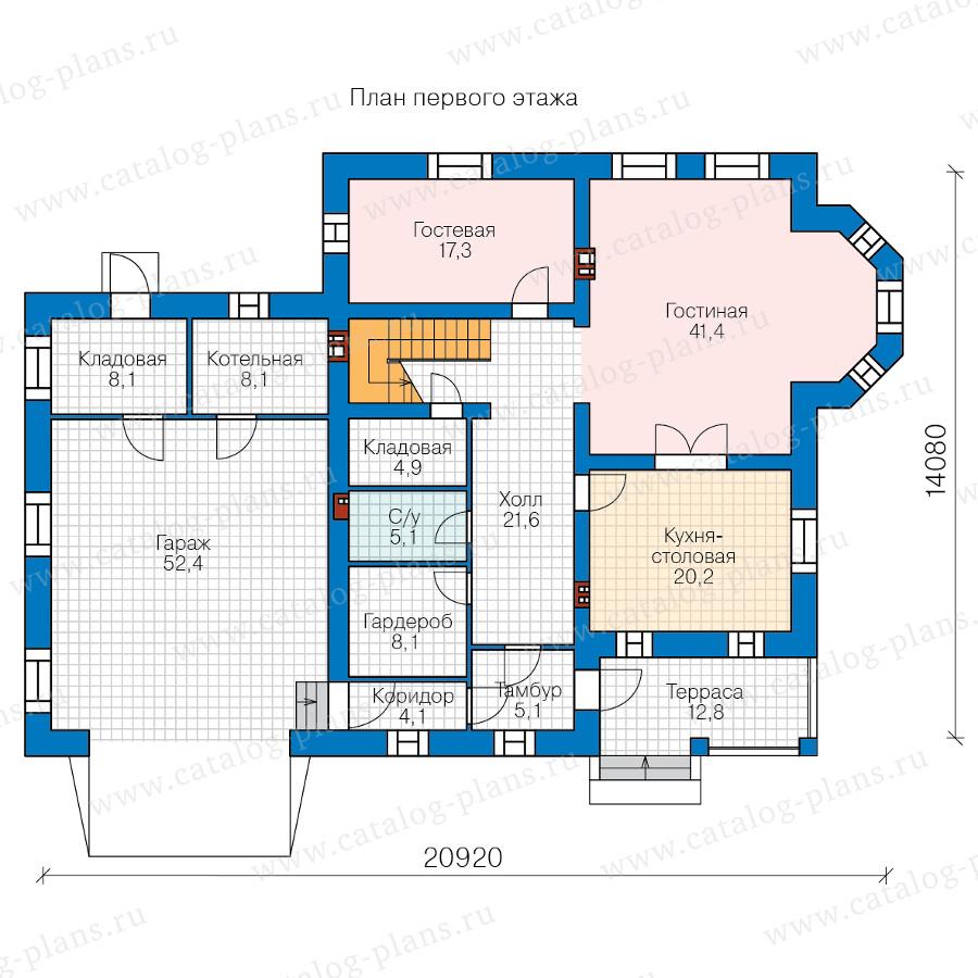 1этаж. План проекта №57-33BK