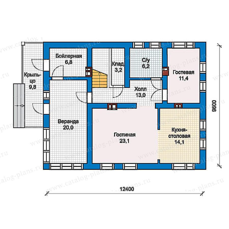1этаж. План проекта №57-38K